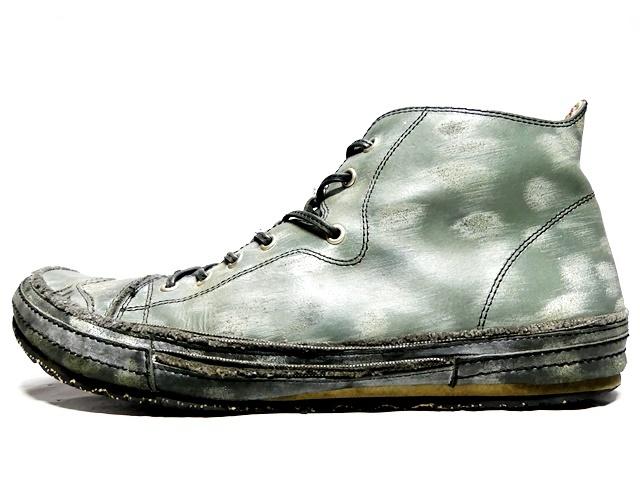 即決★whoop'EE'★27cm レザーハイカットスニーカー フーピー メンズ 緑 グリーン 本革 ダメージ加工 本皮 レースアップ 革靴 シューズ _画像3