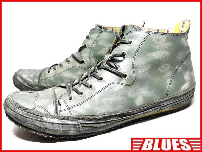 即決★whoop'EE'★27cm レザーハイカットスニーカー フーピー メンズ 緑 グリーン 本革 ダメージ加工 本皮 レースアップ 革靴 シューズ _画像1