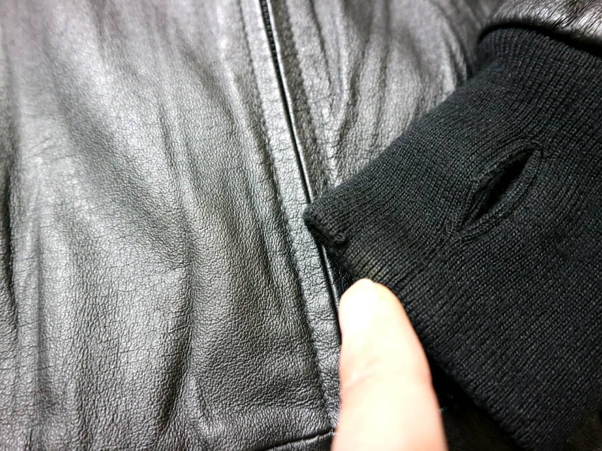 お洒落/春秋レザー!◆UNIVERSAL FREAKS ピッグスキン レザージャケット◆S-細身Mサイズ(身長162-166センチ位)_リブの小傷1つ、撮影後に修理しました。
