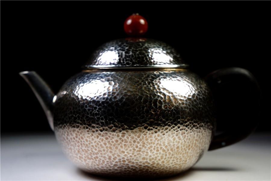 純銀細工 銀急須 銀蓋 木取手 純銀在銘 純銀製保証 100g 高7cm 75198