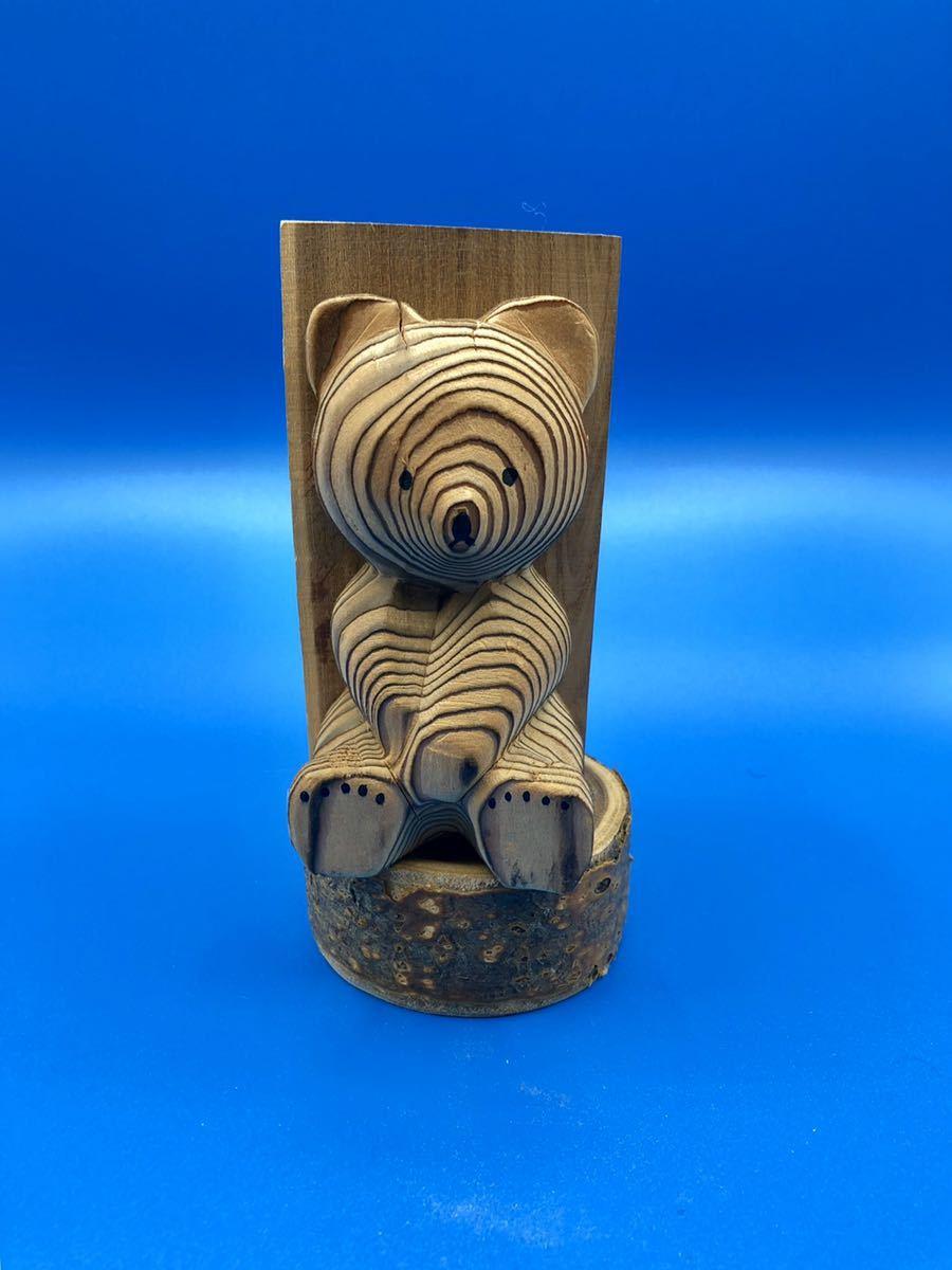 木彫りの熊 熊ボッコ ペン立て 熊の置物 アイヌ_画像1