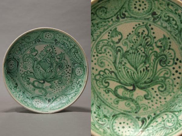 白釉緑彩花文皿ミャンマー古陶器出土発掘15~16世紀個人蔵古美術愛好家蒐集品