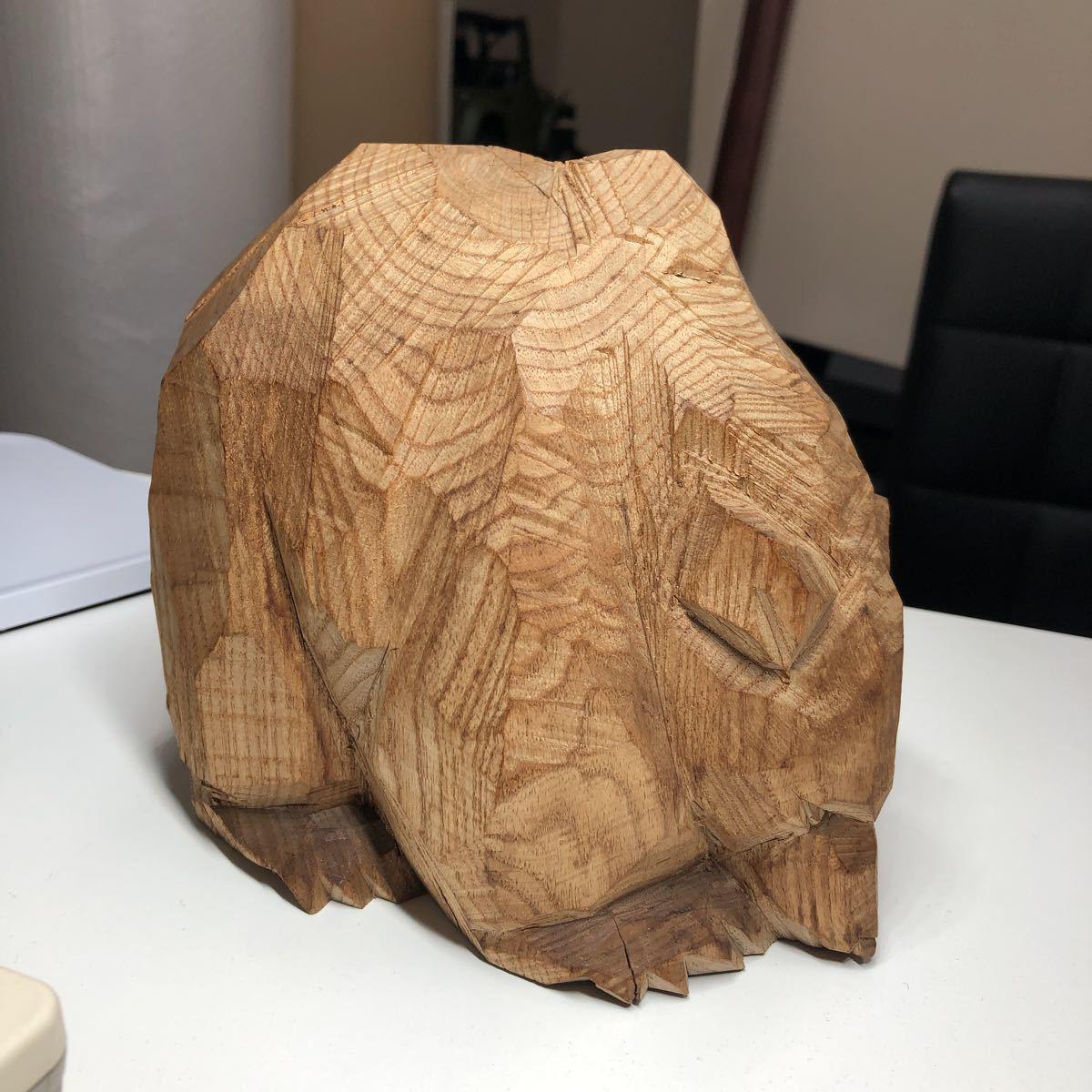 柴崎重行 八雲 木彫 熊 北海道 志 1966 高さ 約16cm幅 約17gm約 1.3Kg