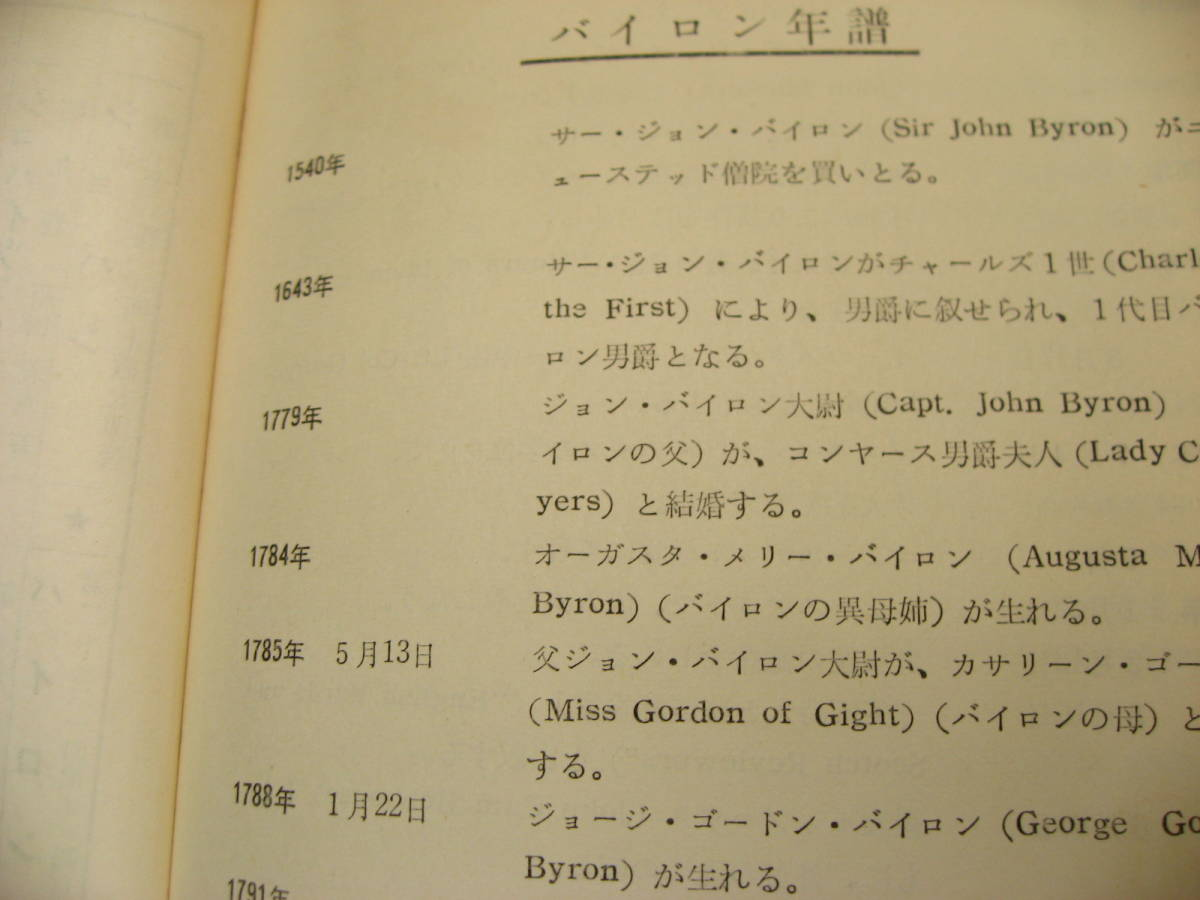 バイロン。 現代傳記全集。金文字ハードカバー。1959年。日本書房