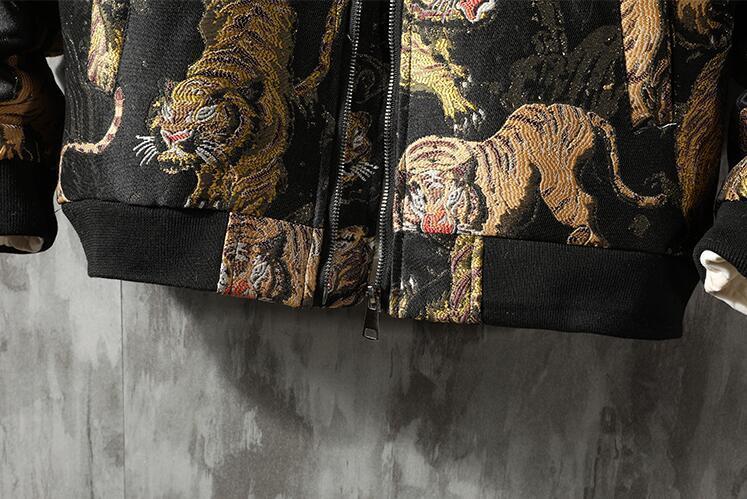 中綿 ジャケット ダウンジャケット スカジャン メンズ タイガー刺繍 総柄 スタジャン ゆったり カジュアル 厚手 防寒M~5XL選択可 ブルー_画像7