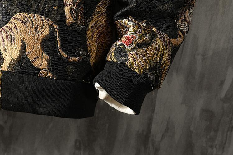中綿 ジャケット ダウンジャケット スカジャン メンズ タイガー刺繍 総柄 スタジャン ゆったり カジュアル 厚手 防寒M~5XL選択可 ブルー_画像10