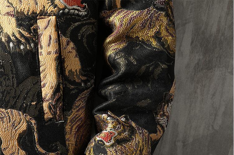 中綿 ジャケット ダウンジャケット スカジャン メンズ タイガー刺繍 総柄 スタジャン ゆったり カジュアル 厚手 防寒M~5XL選択可 ブルー_画像8
