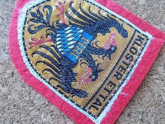 70s ドイツKLOSTER ETTALエッタール修道院 ビンテージ フェルト ワッペン/スーベニア紋章アップリケ パッチ旅行エンブレム土産ワシ双頭 鷲_画像3