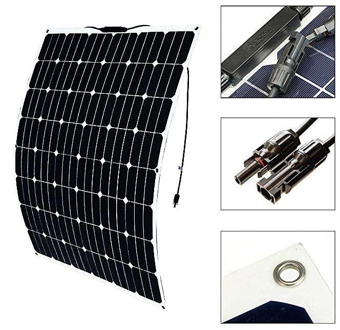 高効率な単結晶200Wソーラーパネル!フレキシブルタイプ!太陽光発電 エコ 節約 12V蓄電に!薄型軽量で曲面設置が可能!本州法人送料無料!_画像3