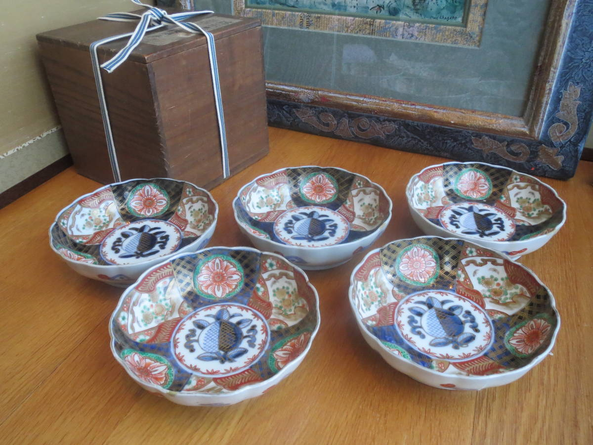 古伊万里 色絵なます皿 染錦五枚セット 江戸時代の美しさ 昔の補修技術の高さ