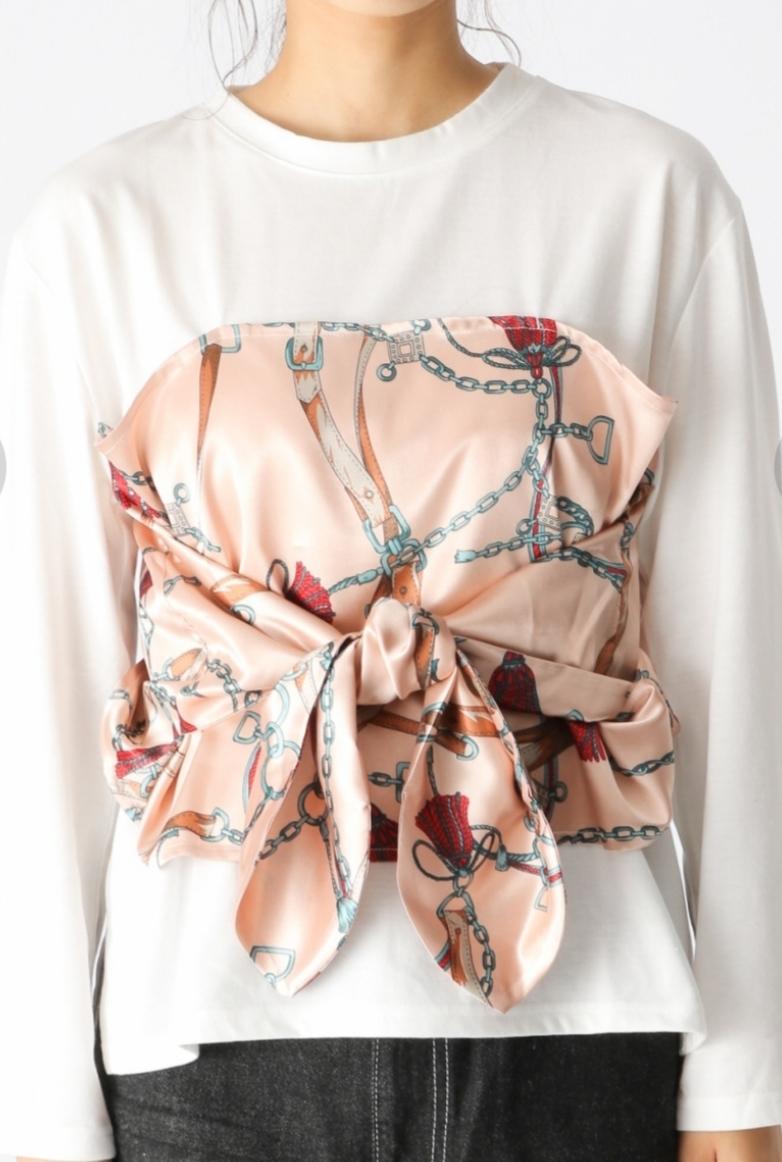 mysty woman ミスティーウーマン スカーフドッキング長袖Tシャツ 長袖カットソー シャツ スカーフドッキングカットプルオーバー 送料無料