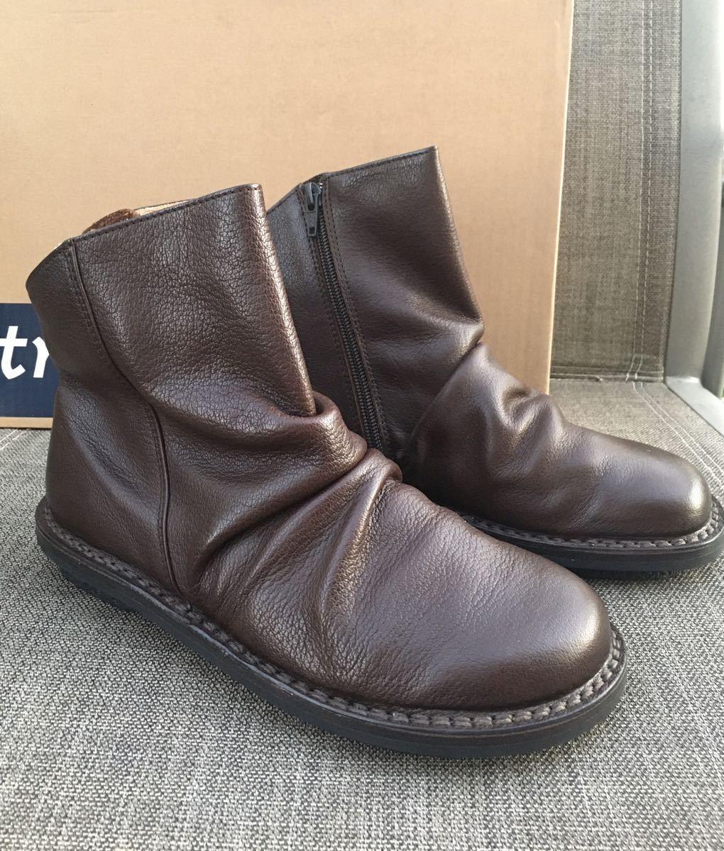 即決 新品 trippen トリッペン 人気ブーツ PLEATS プリーツ 38 24 24.5cm 箱付 ダークブラウン_画像2