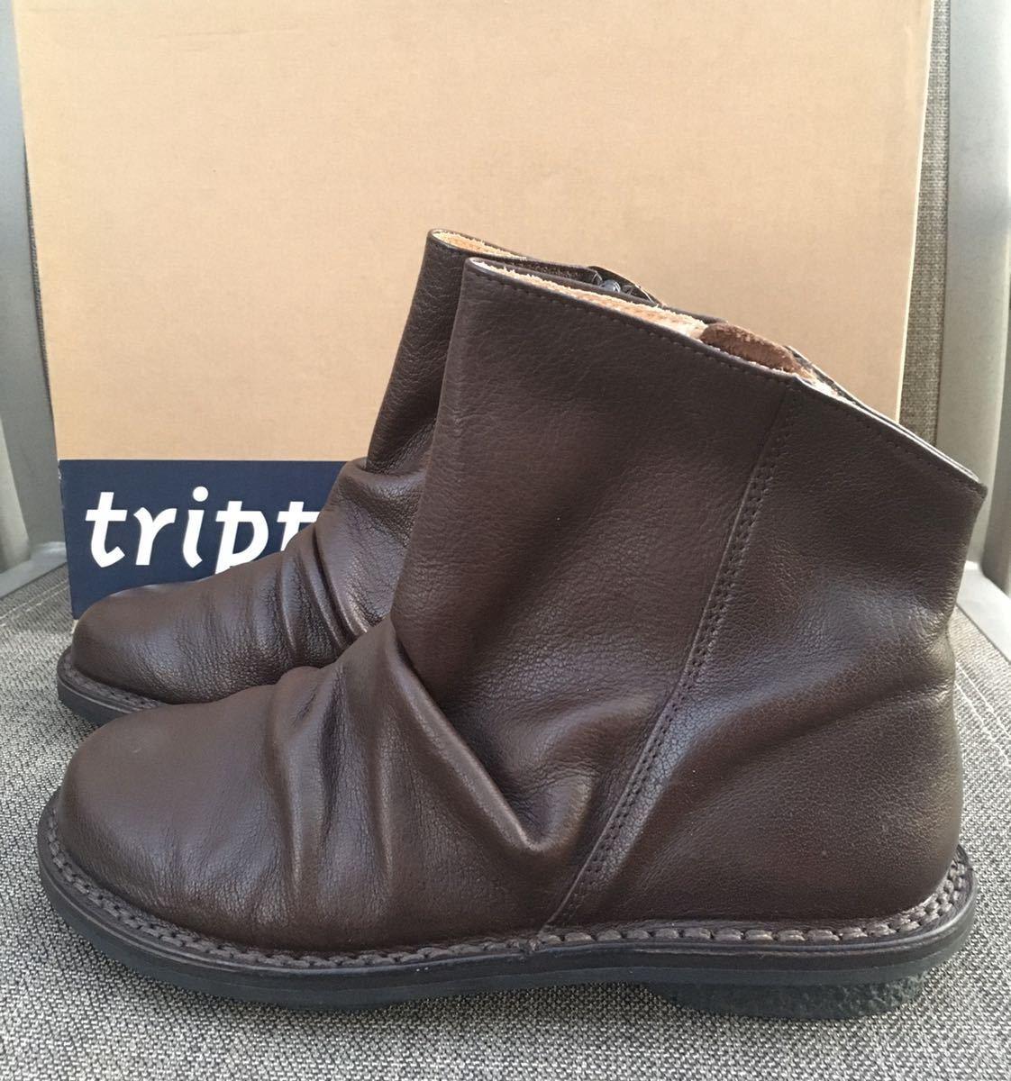 即決 新品 trippen トリッペン 人気ブーツ PLEATS プリーツ 38 24 24.5cm 箱付 ダークブラウン_画像4