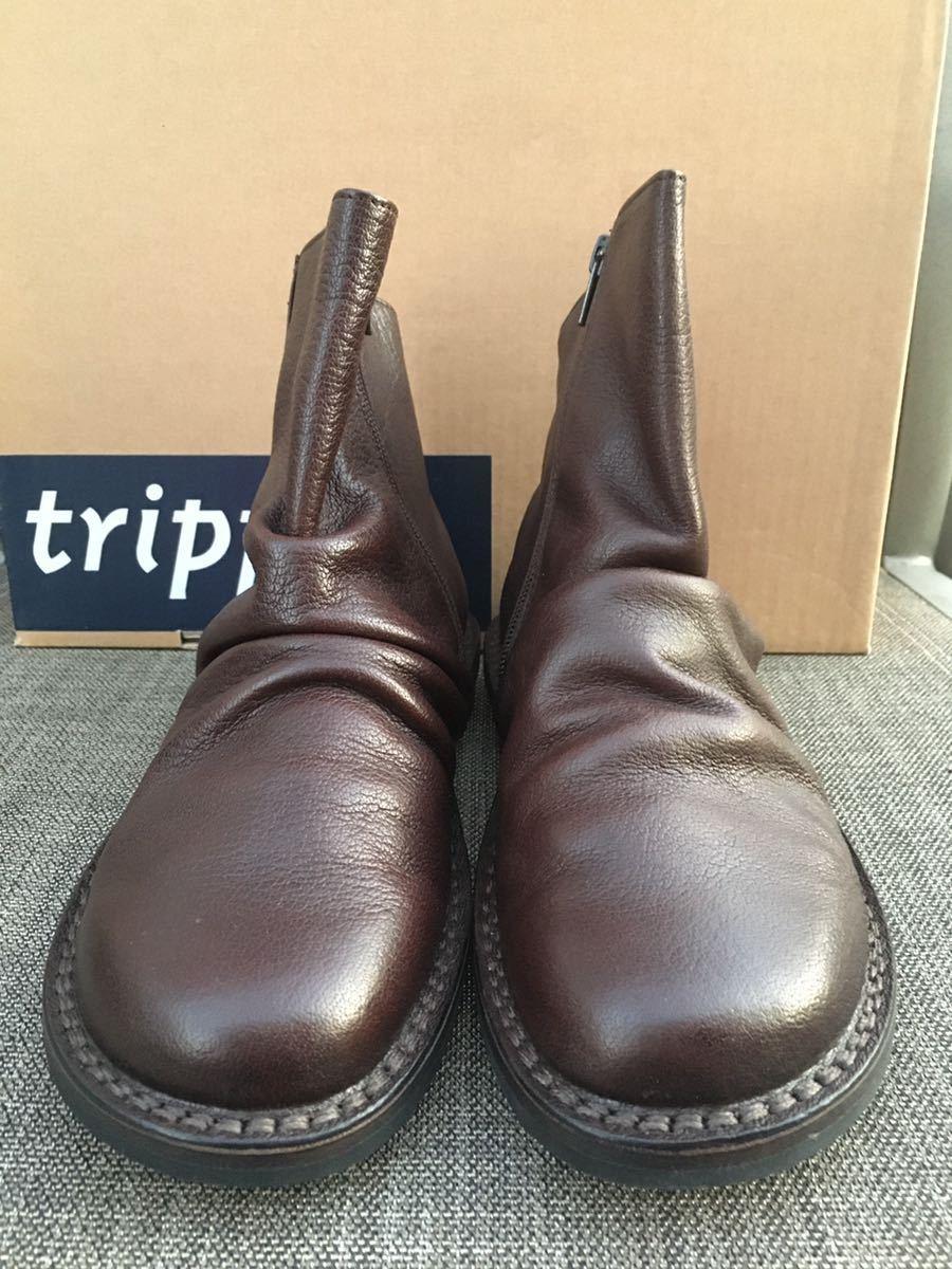 即決 新品 trippen トリッペン 人気ブーツ PLEATS プリーツ 38 24 24.5cm 箱付 ダークブラウン_画像5