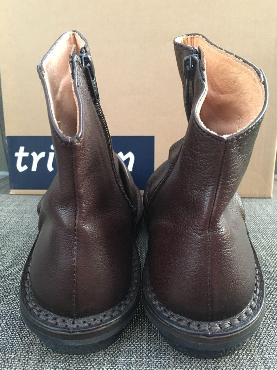 即決 新品 trippen トリッペン 人気ブーツ PLEATS プリーツ 38 24 24.5cm 箱付 ダークブラウン_画像3