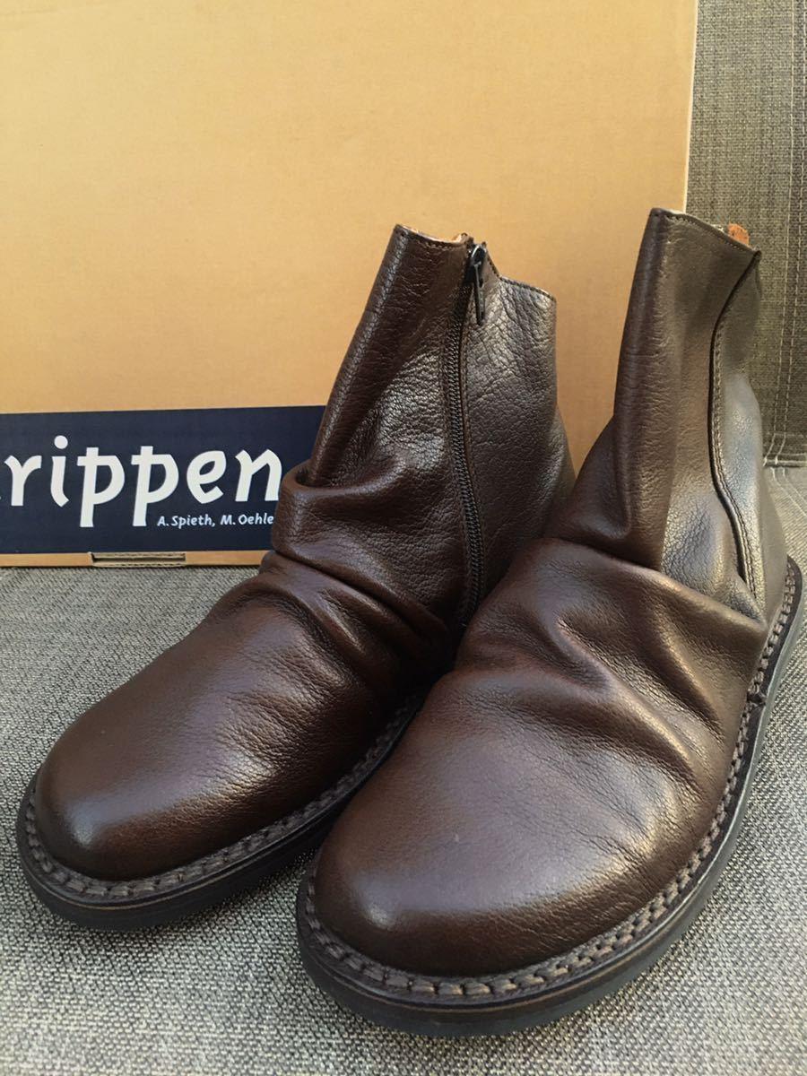 即決 新品 trippen トリッペン 人気ブーツ PLEATS プリーツ 38 24 24.5cm 箱付 ダークブラウン_画像1