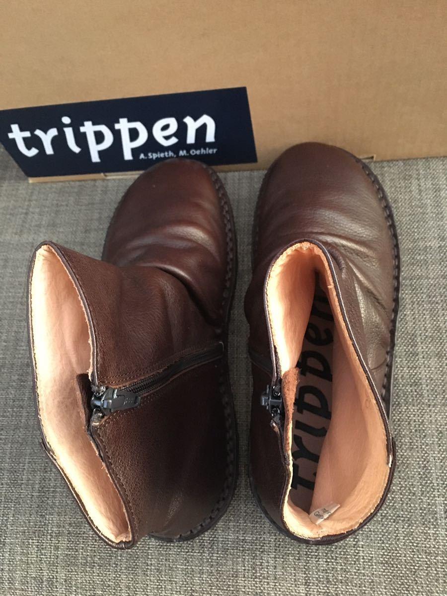 即決 新品 trippen トリッペン 人気ブーツ PLEATS プリーツ 38 24 24.5cm 箱付 ダークブラウン_画像9