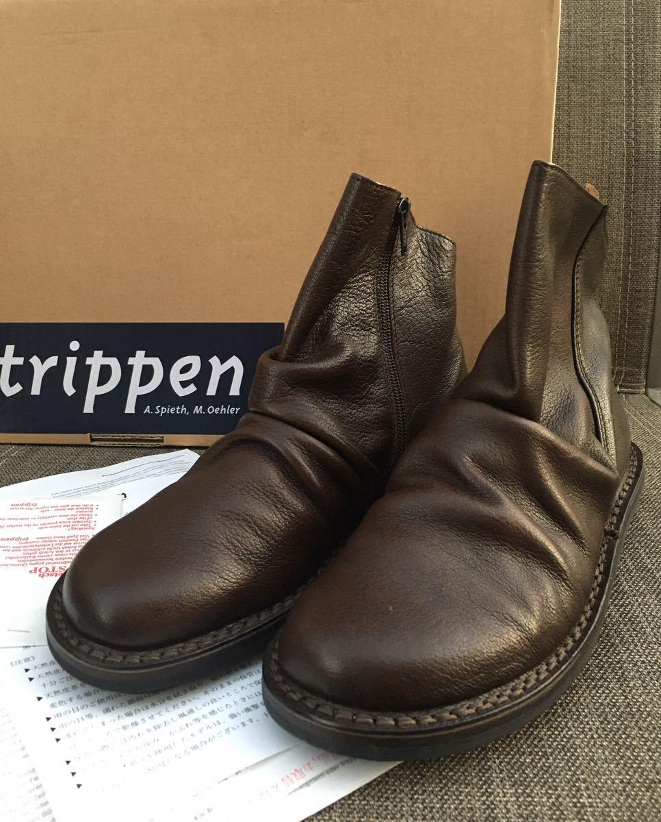 即決 新品 trippen トリッペン 人気ブーツ PLEATS プリーツ 38 24 24.5cm 箱付 ダークブラウン_画像7