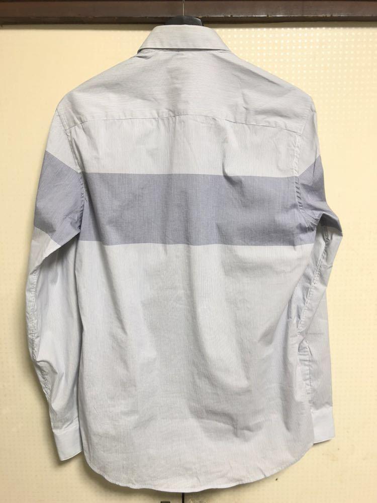 KENZO ケンゾー シャツ カジュアルシャツ トップス グレー 長袖 コットン ボーダー ネイビー_画像2