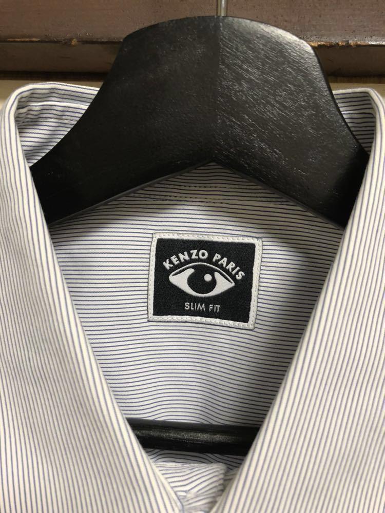 KENZO ケンゾー シャツ カジュアルシャツ トップス グレー 長袖 コットン ボーダー ネイビー_画像3