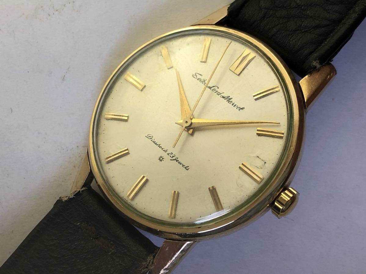 セイコーロードマーベル手巻きメンズ腕時計1960年代アンティーク機械式15027金メッキ