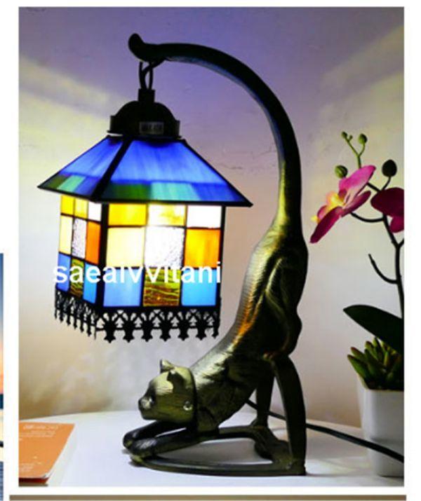 新品 卓上ステンド 欧風地中海スタイル レストラン バーカフェ ガラス工芸 小さなスタンドステンドグラススタンド灯具 K077