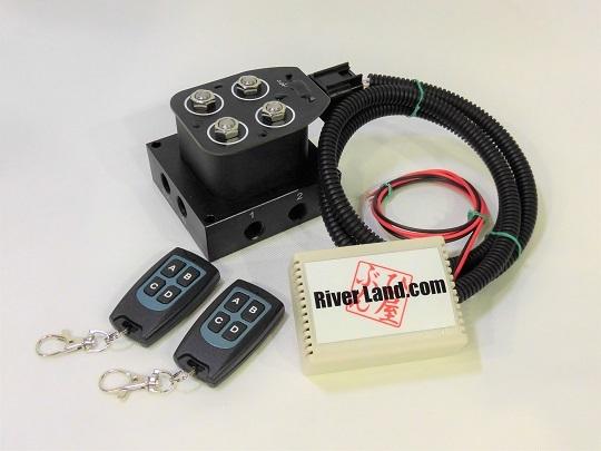 エアサス マニホールドバルブ+ワイヤレスリモコンキット 2独電磁弁 新品_画像1