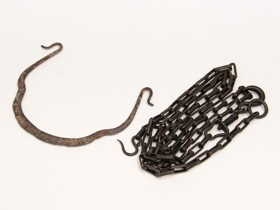 釣釜用 鎖(くさり)木瓜弦(つる)2点セット 桐箱 茶道具 煎茶道具 金属工芸 現代工芸 b6778o_画像1