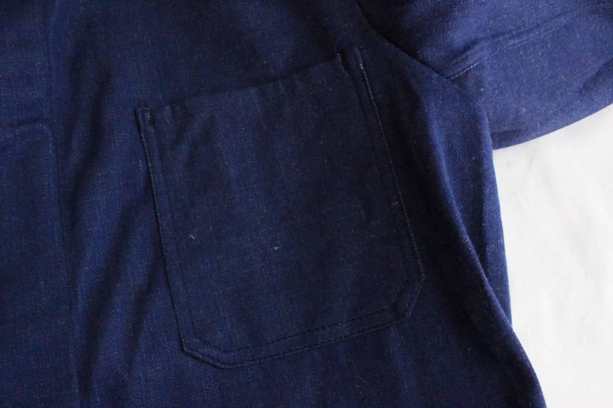 デッドストック【 ヨーロッパ ビンテージ 】コットン デニム カバーオール ジャケット / ネイビーパープル 紺 / 52 / フランス ワーク_画像4
