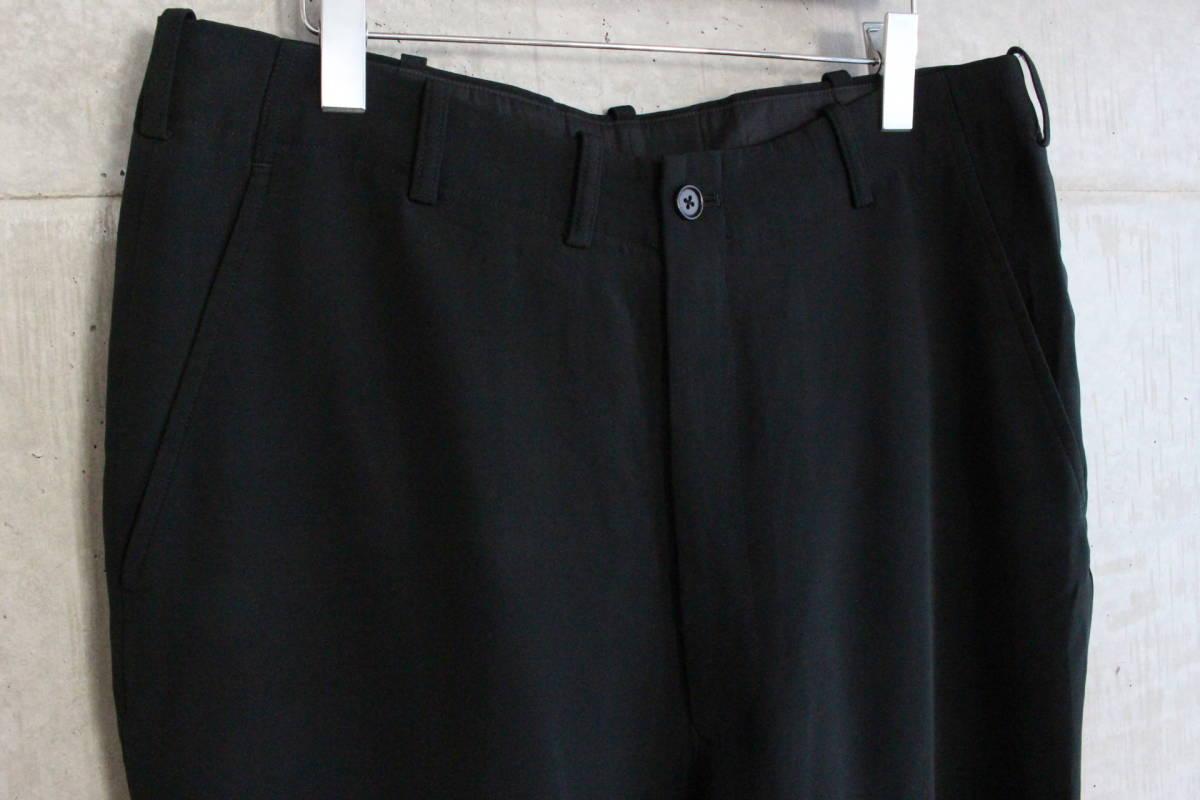 【 Yohji Yamamoto POUR HOMME 】 ヨウジヤマモト プールオム ブラック シルクパンツ / 黒 / 2 / 絹_画像1