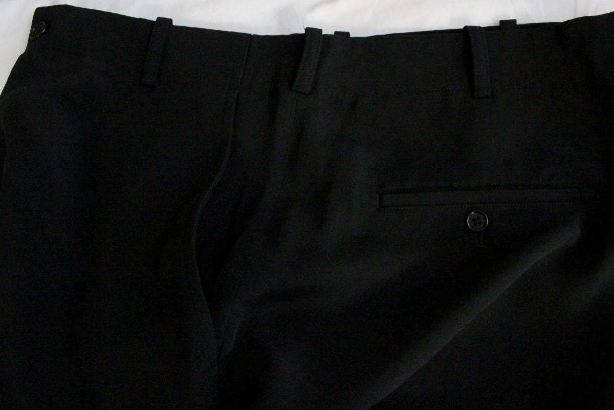 【 Yohji Yamamoto POUR HOMME 】 ヨウジヤマモト プールオム ブラック シルクパンツ / 黒 / 2 / 絹_画像6