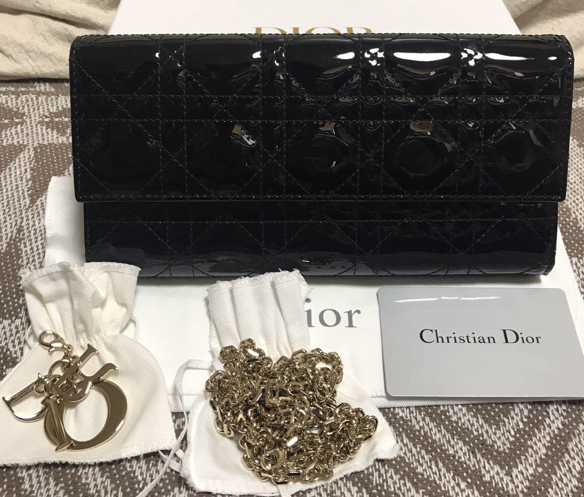クリスチャンディオール 黒 ブラック 未使用品 チェーンウォレット パテント Christian Dior ゴールド 長財布 ショルダーバッグ_画像1
