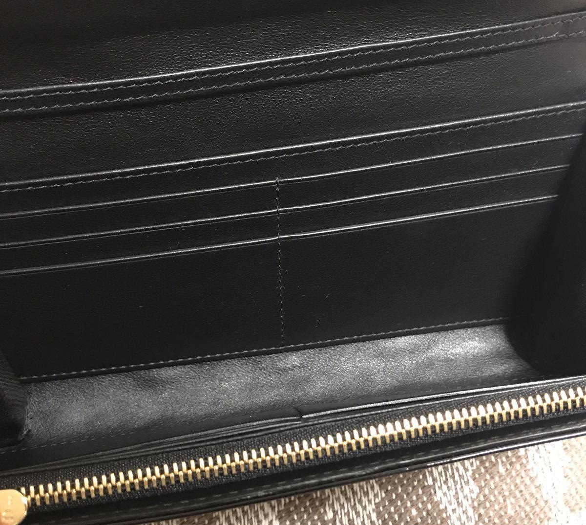 クリスチャンディオール 黒 ブラック 未使用品 チェーンウォレット パテント Christian Dior ゴールド 長財布 ショルダーバッグ_画像4
