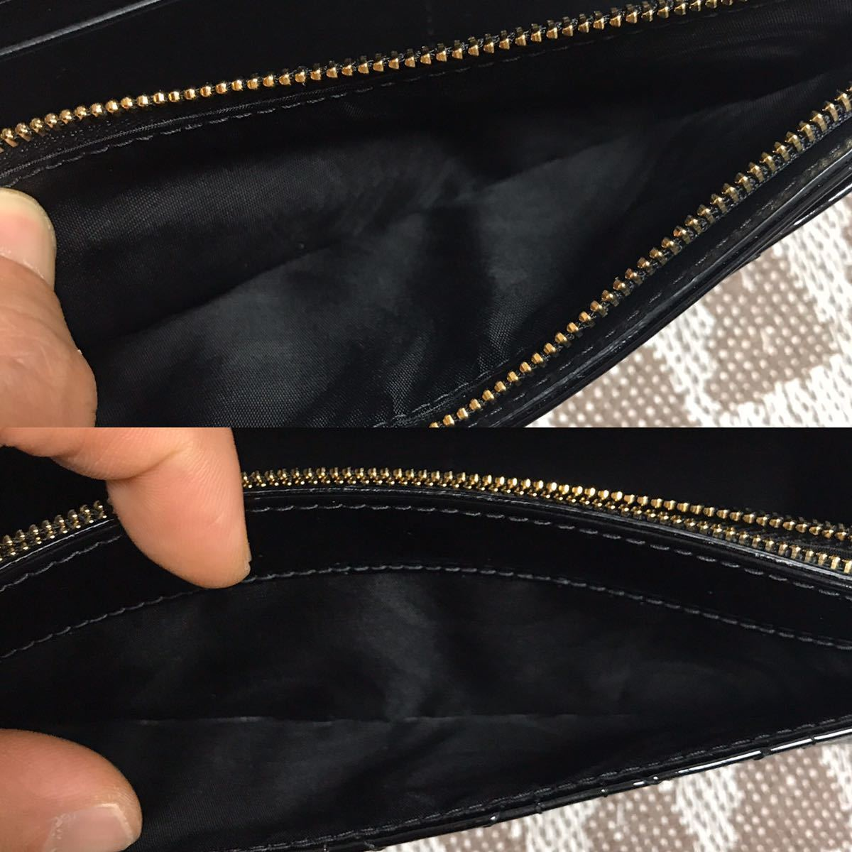 クリスチャンディオール 黒 ブラック 未使用品 チェーンウォレット パテント Christian Dior ゴールド 長財布 ショルダーバッグ_画像8