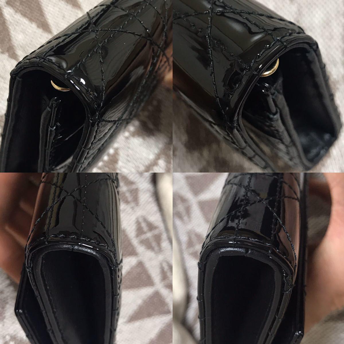 クリスチャンディオール 黒 ブラック 未使用品 チェーンウォレット パテント Christian Dior ゴールド 長財布 ショルダーバッグ_画像10