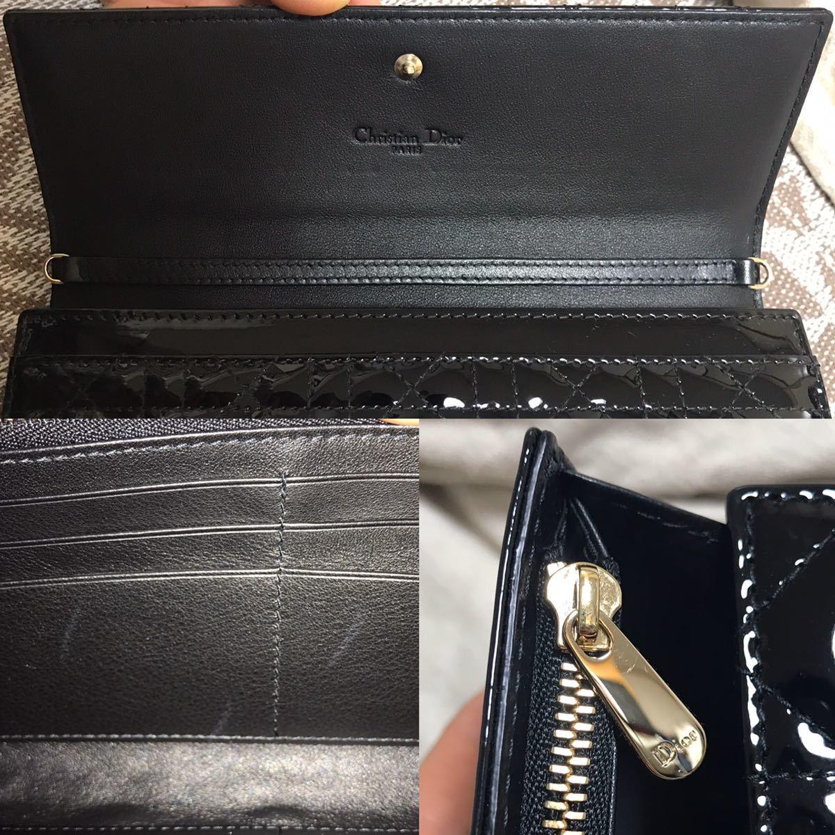 クリスチャンディオール 黒 ブラック 未使用品 チェーンウォレット パテント Christian Dior ゴールド 長財布 ショルダーバッグ_画像7