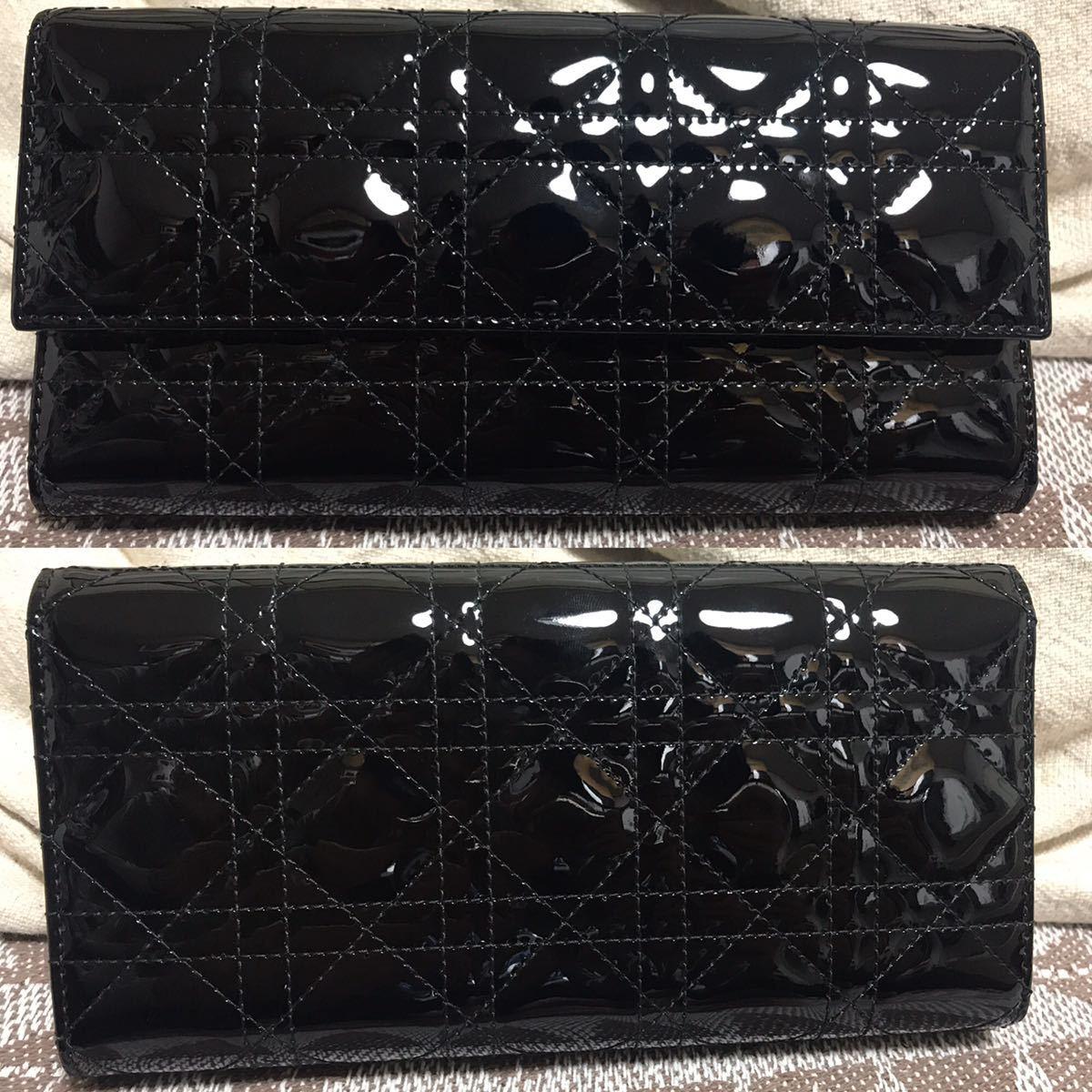 クリスチャンディオール 黒 ブラック 未使用品 チェーンウォレット パテント Christian Dior ゴールド 長財布 ショルダーバッグ_画像2