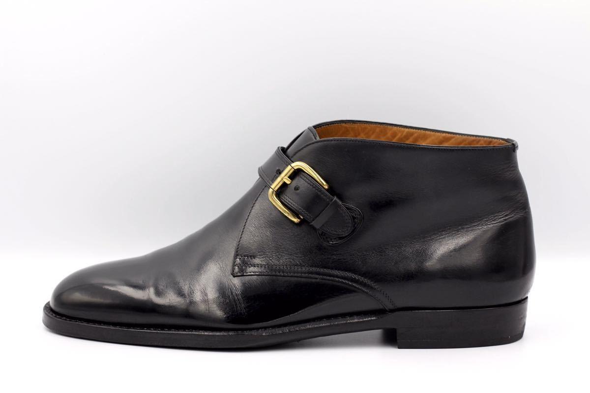 tanino crisci boot タニノクリスチー ブーツ シングルモンクストラップ チャッカブーツ 紳士靴 イタリア製 7ハーフ 26cm カーフ 黒_画像3