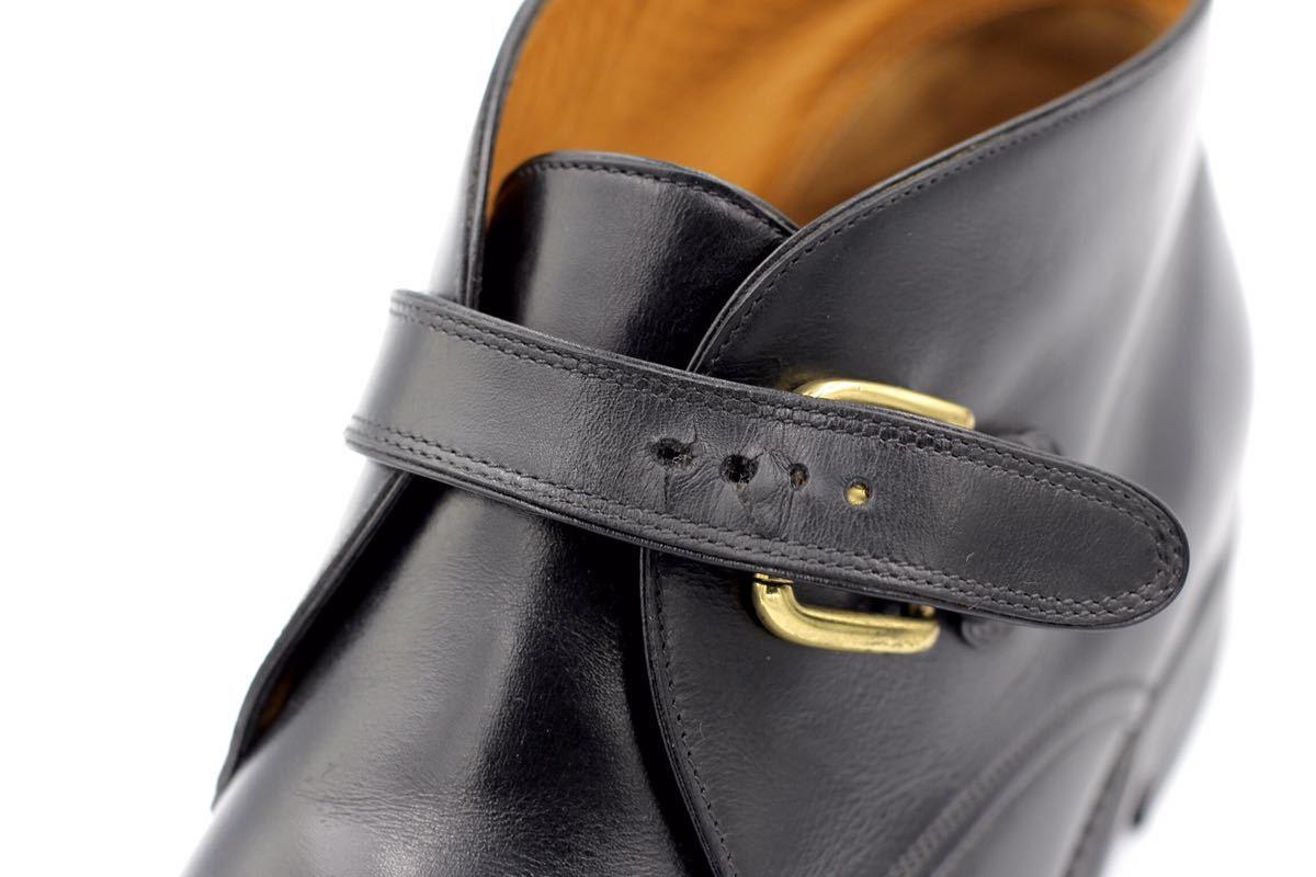 tanino crisci boot タニノクリスチー ブーツ シングルモンクストラップ チャッカブーツ 紳士靴 イタリア製 7ハーフ 26cm カーフ 黒_画像10