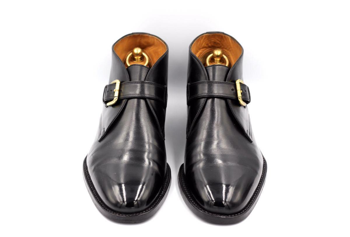 tanino crisci boot タニノクリスチー ブーツ シングルモンクストラップ チャッカブーツ 紳士靴 イタリア製 7ハーフ 26cm カーフ 黒_画像1