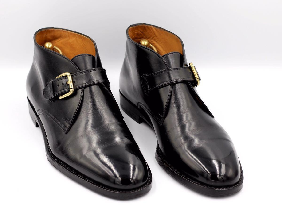 tanino crisci boot タニノクリスチー ブーツ シングルモンクストラップ チャッカブーツ 紳士靴 イタリア製 7ハーフ 26cm カーフ 黒_画像2