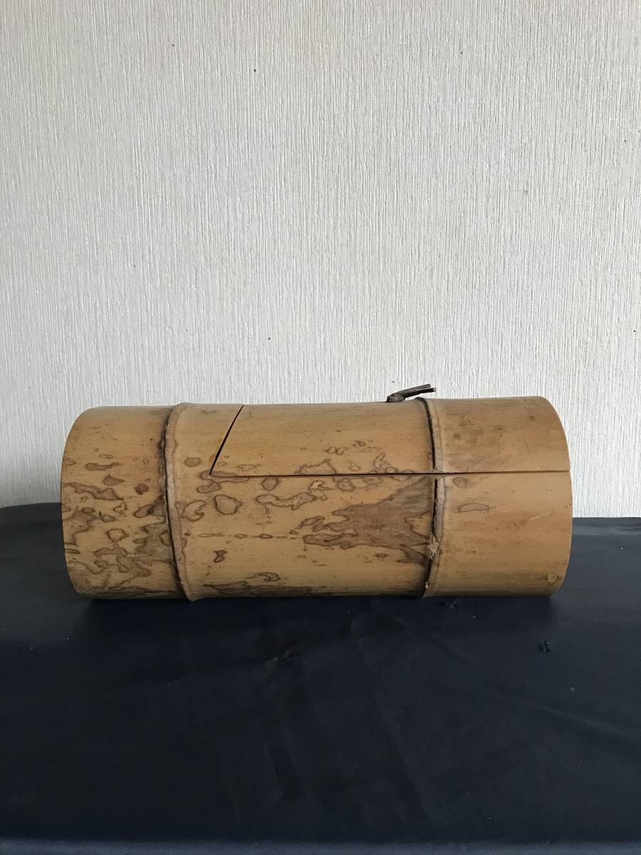 斑竹 竹細工 竹工芸 竹茶合 煎茶道具 小物入れ 和風 茶罐 手作 斑竹 茶道具 _画像1