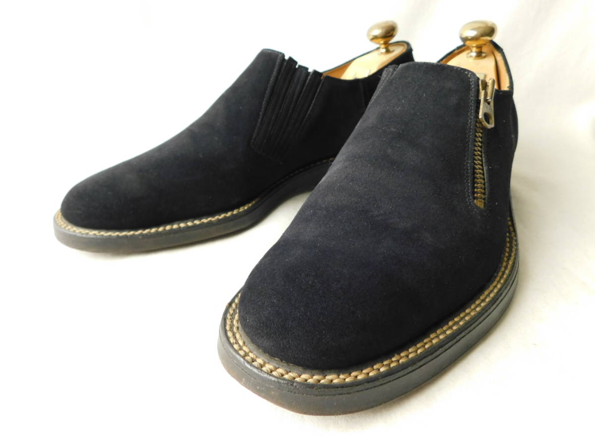 40s50s ビンテージ ダブルコバ ブルースウェード レザーシューズ 革靴 ZIP スリッポン_画像1