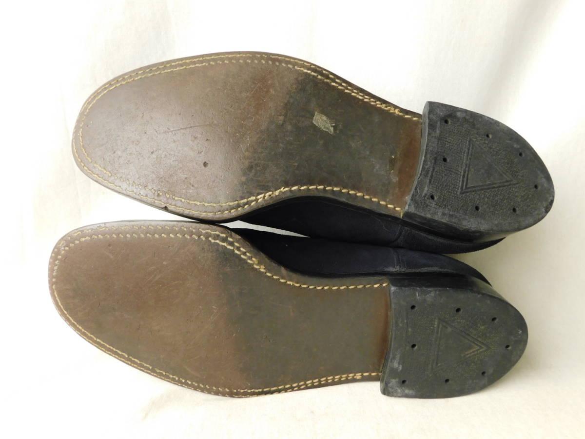 40s50s ビンテージ ダブルコバ ブルースウェード レザーシューズ 革靴 ZIP スリッポン_画像5