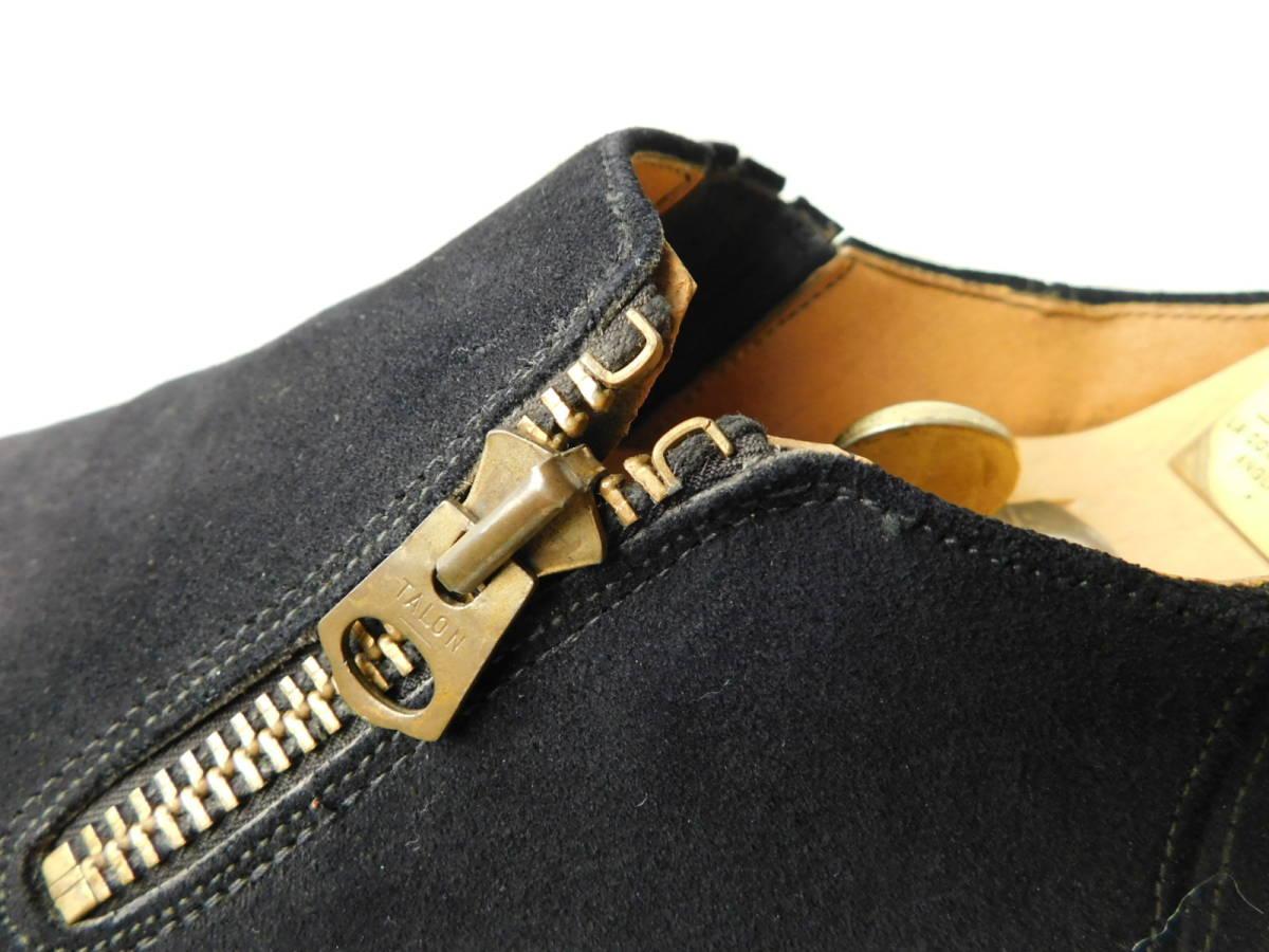 40s50s ビンテージ ダブルコバ ブルースウェード レザーシューズ 革靴 ZIP スリッポン_画像8