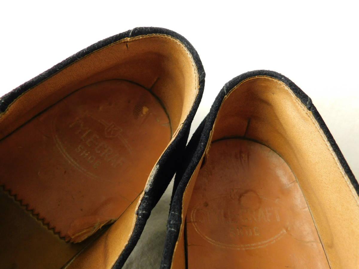 40s50s ビンテージ ダブルコバ ブルースウェード レザーシューズ 革靴 ZIP スリッポン_画像9