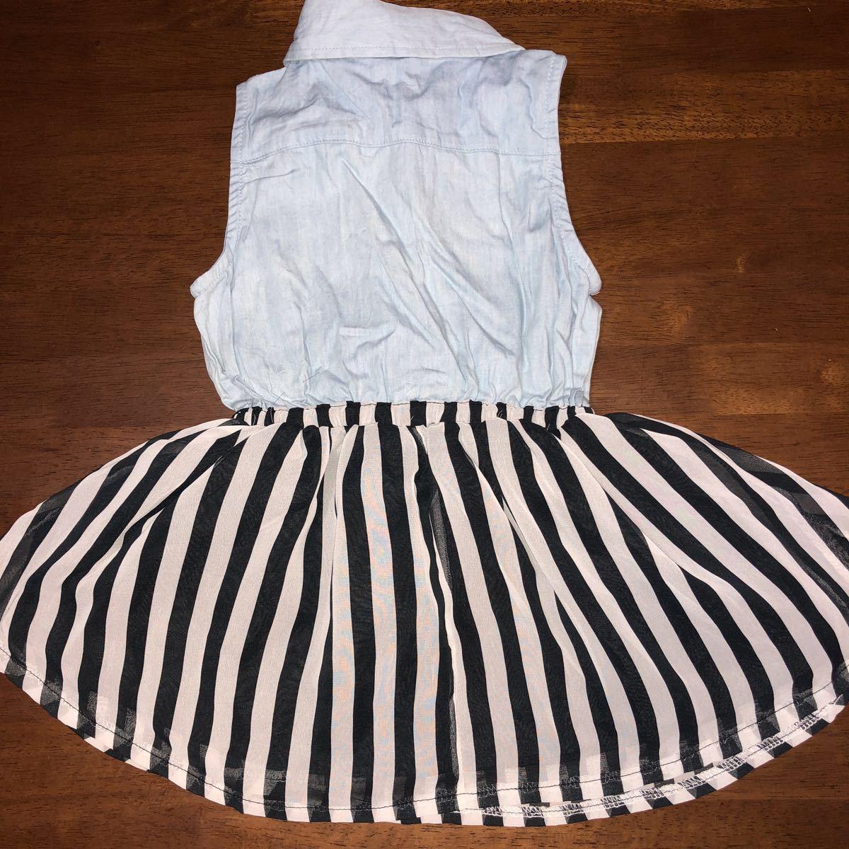 ノースリーブワンピース デニムシャツ ストライプスカート シフォンスカート 中古 100㎝ 難あり