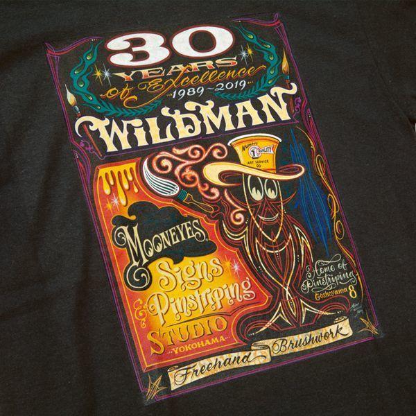 """Sサイズ MOONEYES Hiro """"Wildman"""" Ishii 30th Anniversary Tシャツ ムーンアイズ ブラック 記念 黒 車 バイク がお好きな方にぜひ_画像3"""