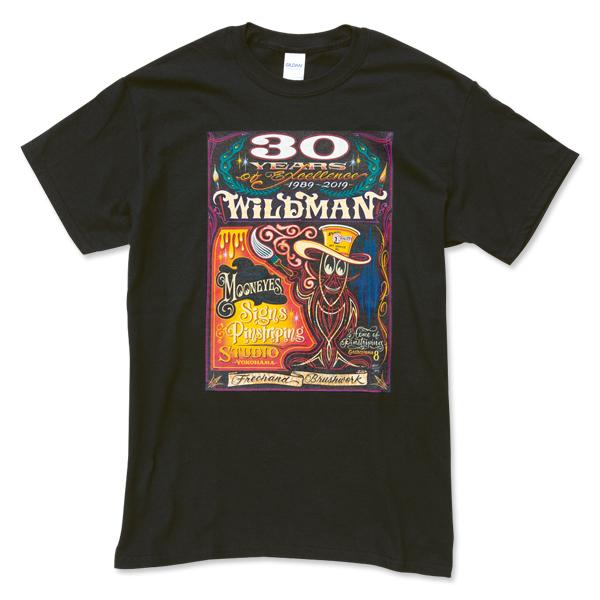 """Sサイズ MOONEYES Hiro """"Wildman"""" Ishii 30th Anniversary Tシャツ ムーンアイズ ブラック 記念 黒 車 バイク がお好きな方にぜひ_画像2"""