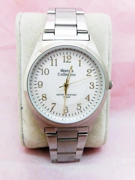 1742 Montres Collection 腕時計 モントレスコレクション MC-2500 銀色 文字盤白色 メンズ クオーツ【 動作可・除菌クリーニング済】_画像1